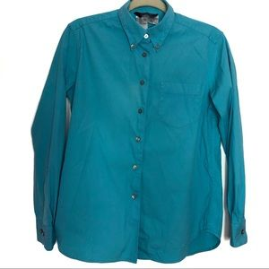 🍁Weekend by Max Mara Blue Button Up Top Medium